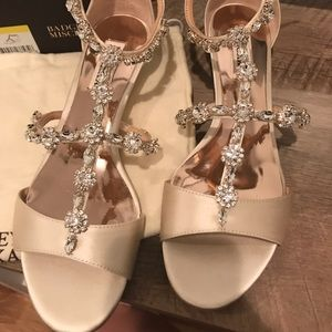 Badgley Mischka Terry Wedge Sandal in Ivory Satin